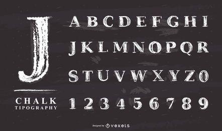conjunto de letras del alfabeto de tiza