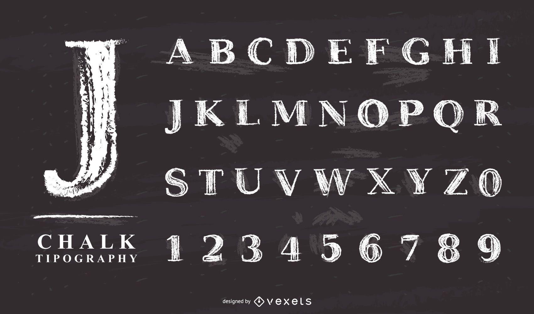 conjunto de letras do alfabeto de giz