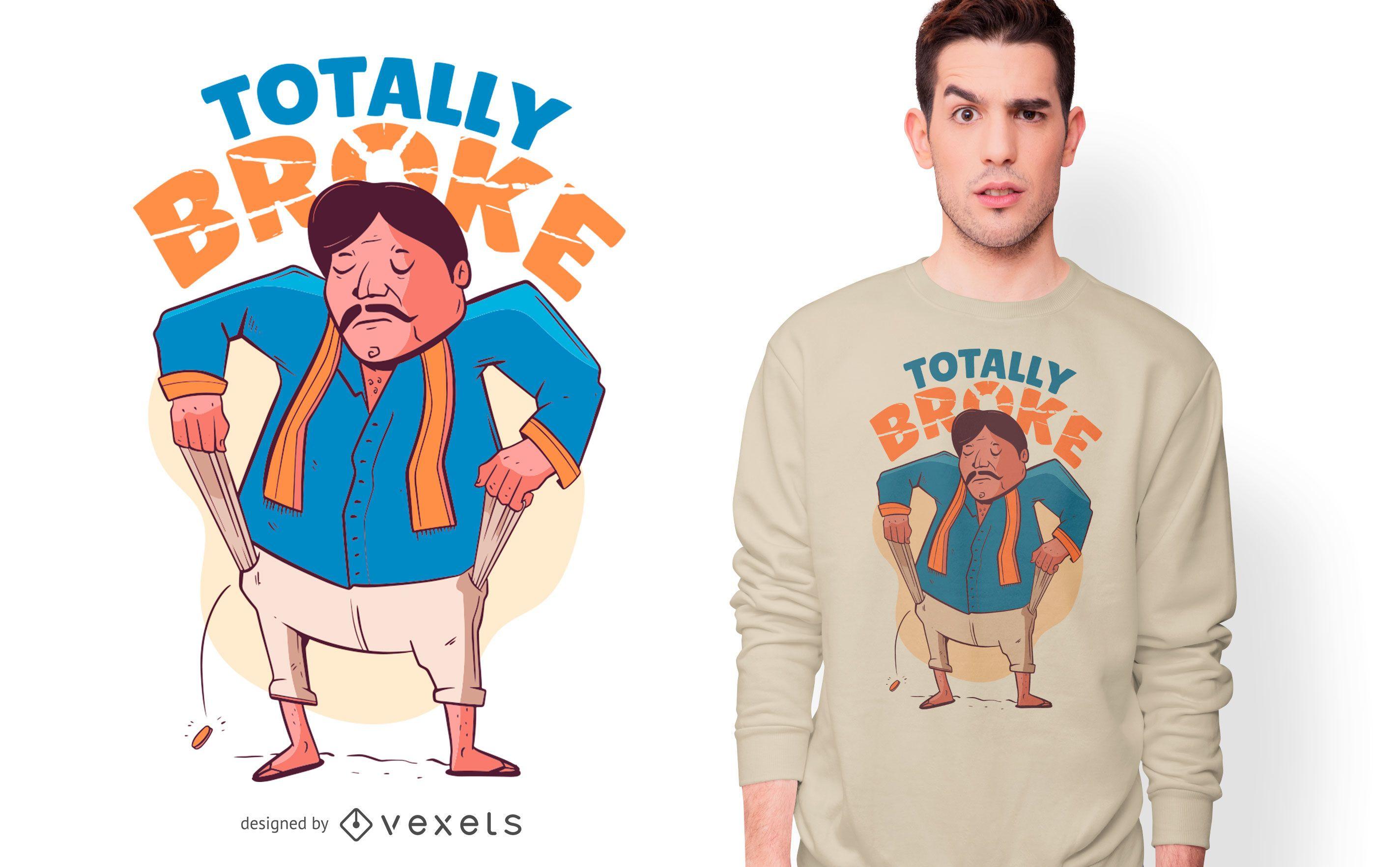 Diseño de camiseta de cita de personaje indio