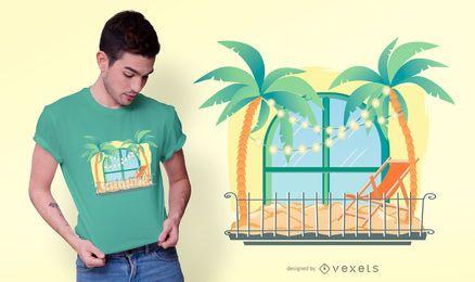 Diseño de camiseta de vacaciones en el balcón