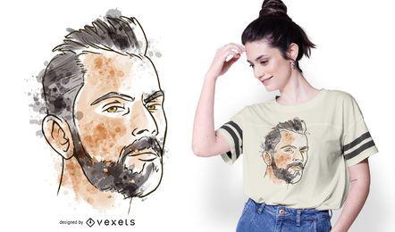 Diseño de camiseta de acuarela de retrato de hombre