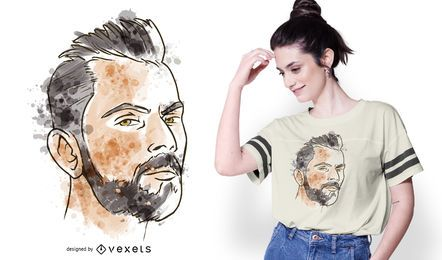 Man Portrait Watercolor T-shirt Design