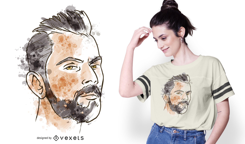 Man Portrait Watercolor T-shirt Design