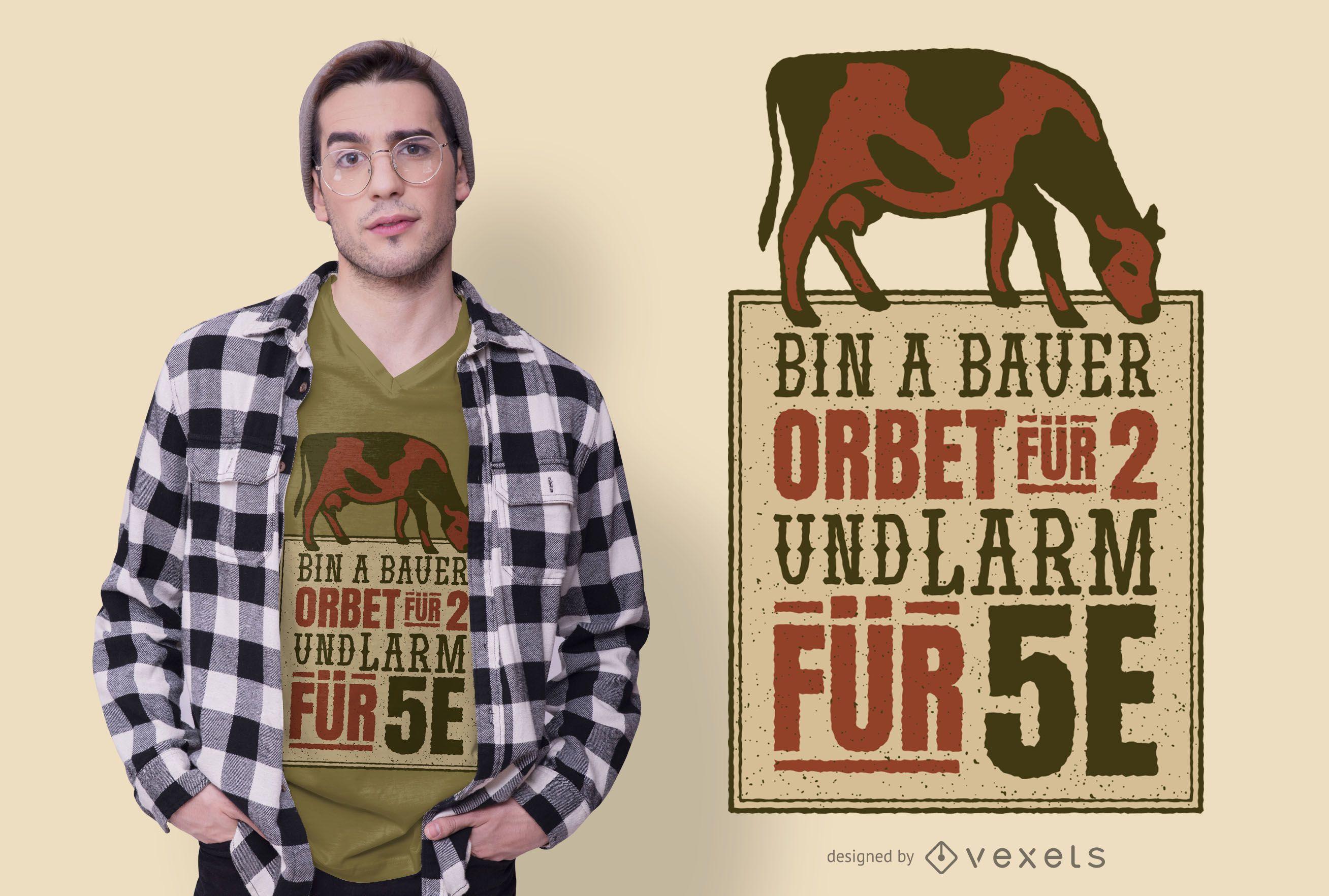 Design de camiseta com citações de fazendeiro alemão