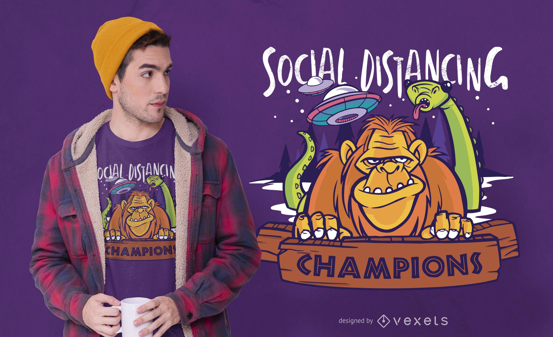 Diseño de camiseta de monstruos de distanciamiento social.