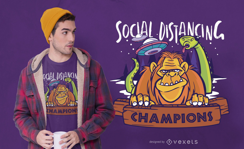 Social distancing monsters t-shirt design