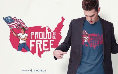 Design do t-shirt do orgulho da liberdade