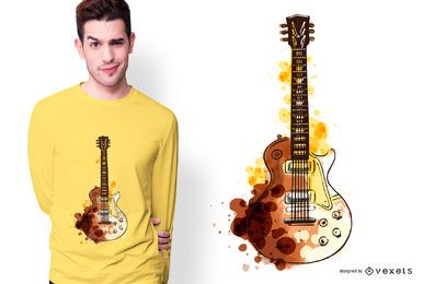 Design de camiseta com guitarra em aquarela