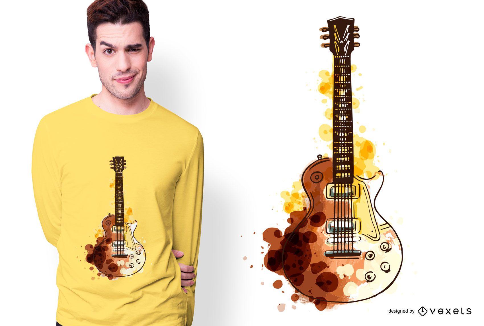 Design de camiseta com guitarra em aquarela
