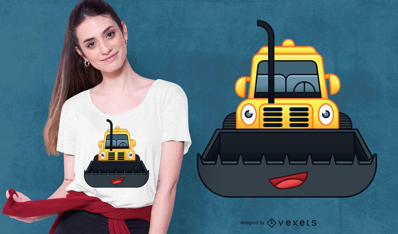 Happy Bulldozer T-shirt Design