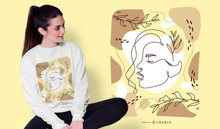 Diseño de camiseta de dibujo artístico de mujer