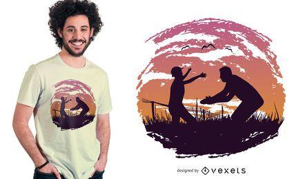 Projeto do t-shirt da silhueta do pai e da criança