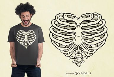 Heart Rib Cage T-shirt Design