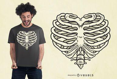 Projeto do t-shirt da caixa torácica do coração
