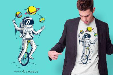 Projeto do t-shirt do malabarista do espaço