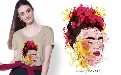 Design de camisetas Frida em aquarela