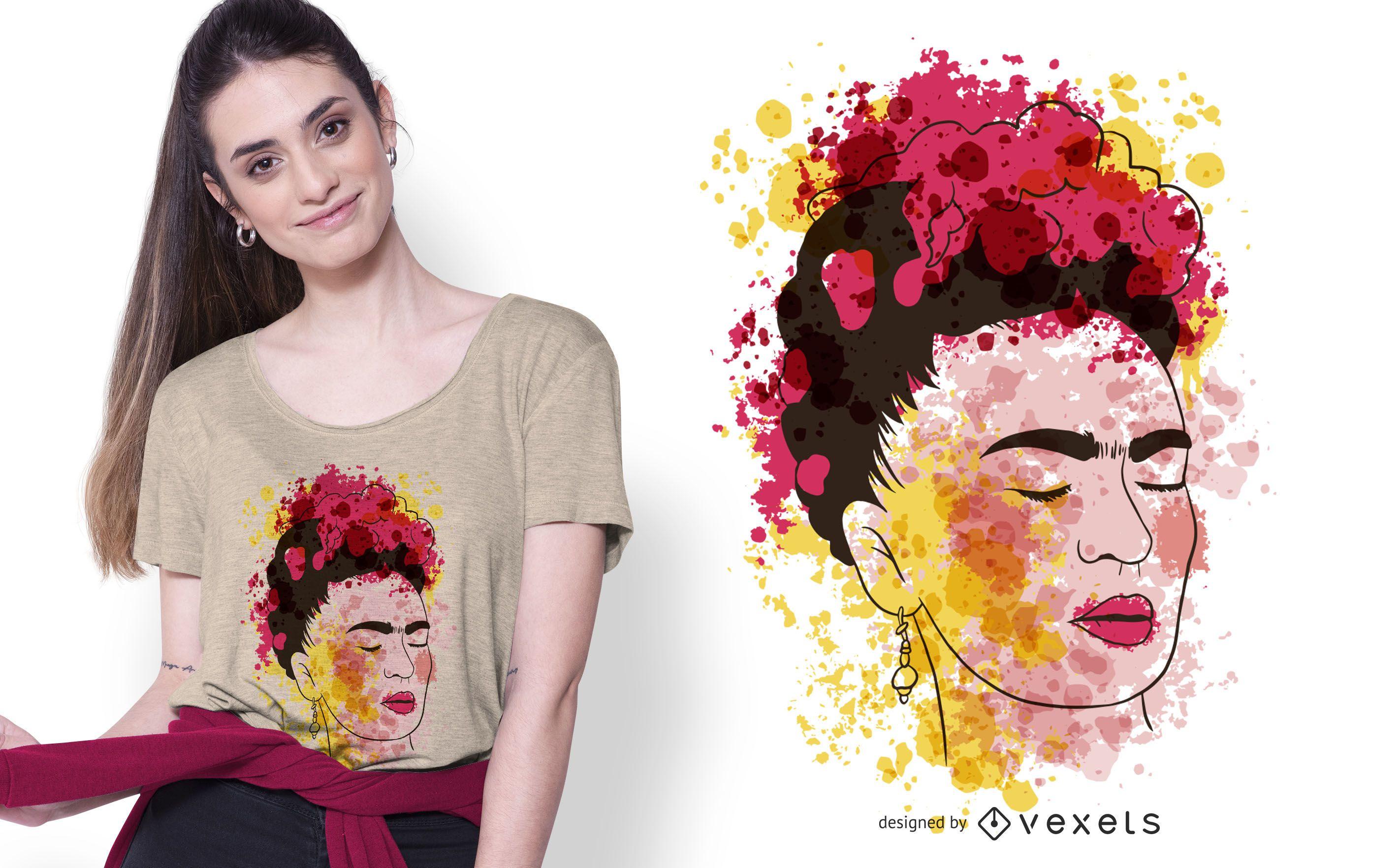 Diseño de camiseta de acuarela Frida
