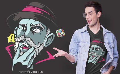 Design de t-shirt de homem surpreendido