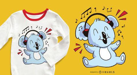 Design do t-shirt do Koala da música