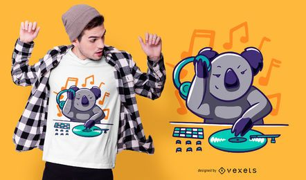 Diseño de camiseta Koala DJ