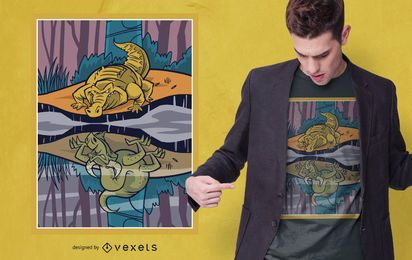 Diseño de camiseta Dragon Crocodile