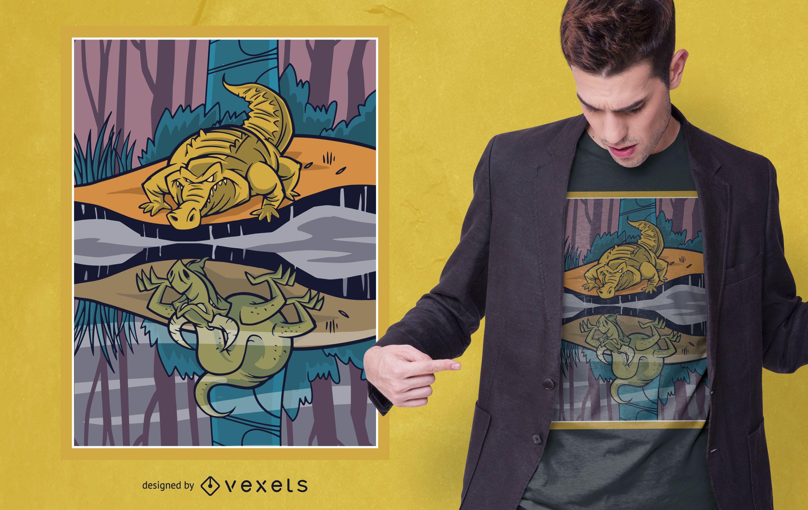 Dragon Crocodile T-shirt Design