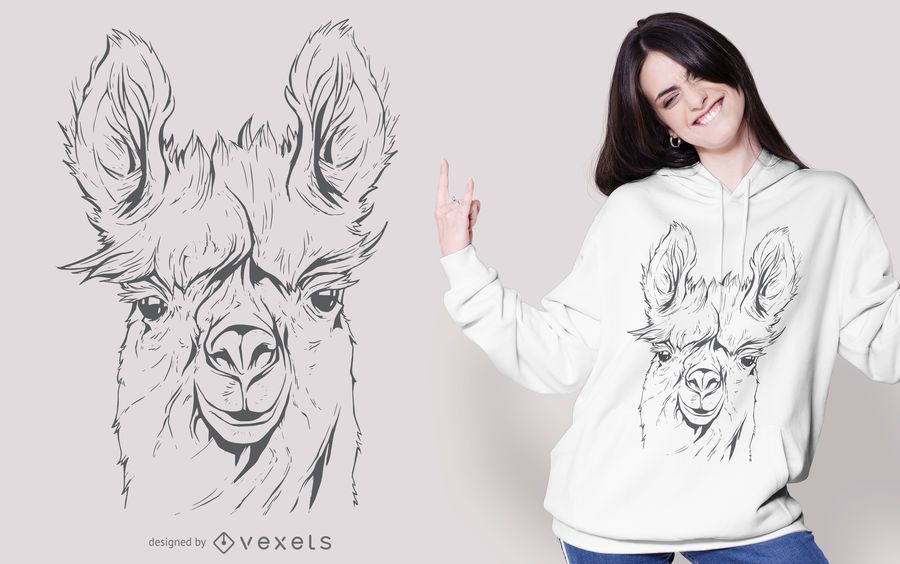 Llama Line Art T-shirt Design