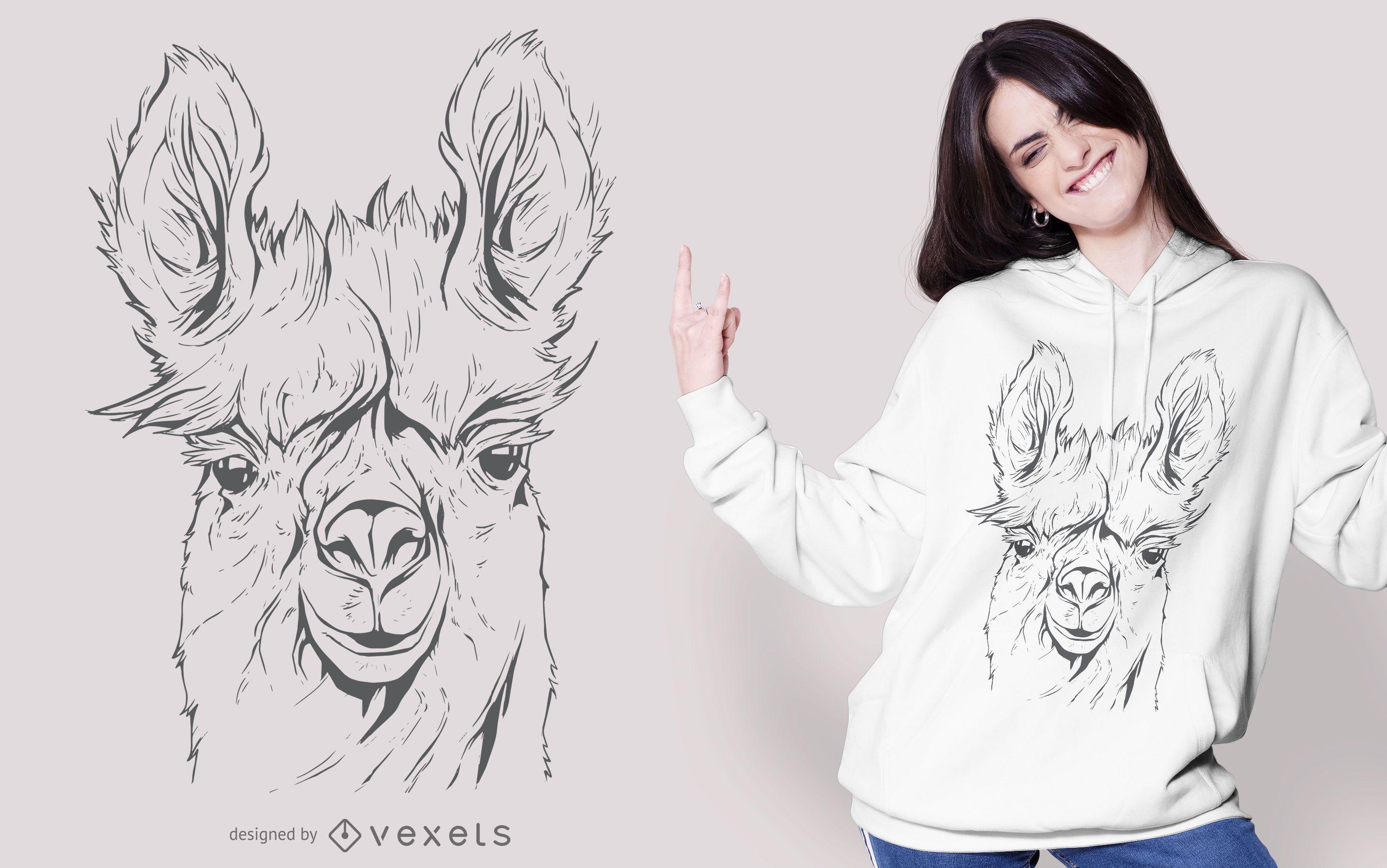 Llama Line Art Design de camisetas