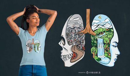 Projeto dos t-shirt dos pulmões da paisagem