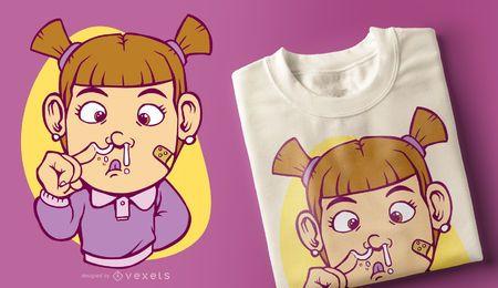 Projeto desagradável do t-shirt da menina