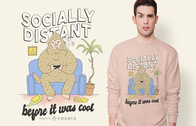 Diseño de camiseta Bigfoot socialmente distante