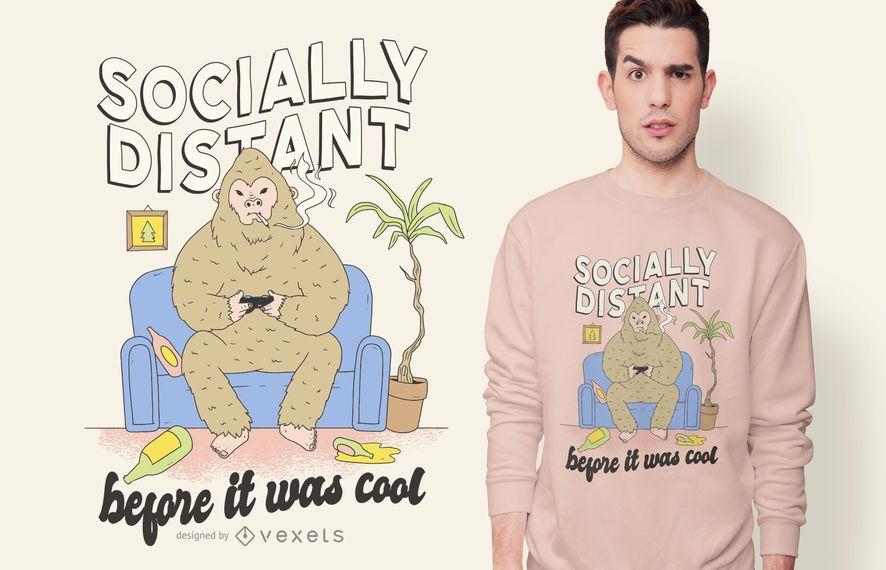 Diseño de camiseta Bigfoot socialmente distante