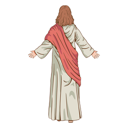 Back view jesus illustration