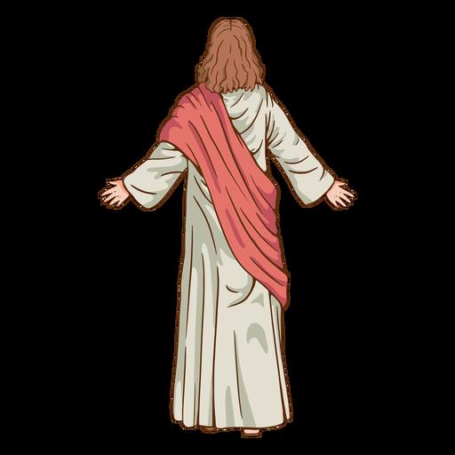 Back view jesus illustration