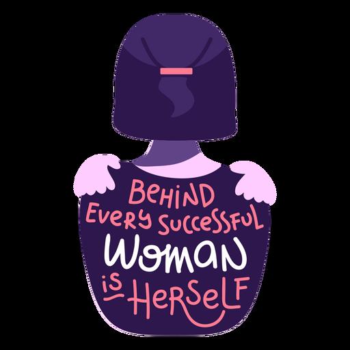 Detrás de letras de mujer exitosa