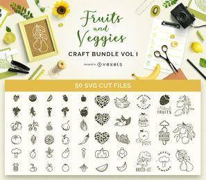 Pacote de artesanato de frutas e vegetais Vol I