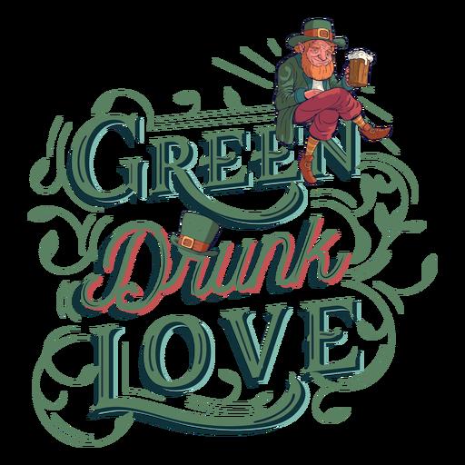 Green drunk love lettering Transparent PNG