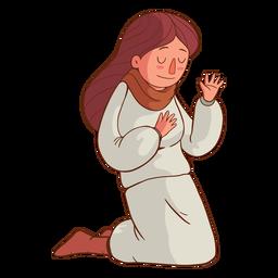 Kneeling kid illustration