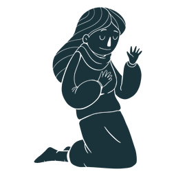 Kneeling kid silhouette