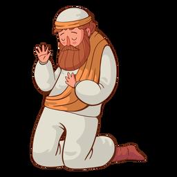 Ilustración de hombre arrodillado