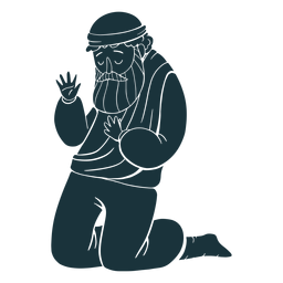 Silueta de hombre arrodillado