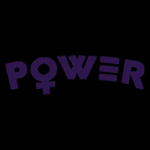 Power women symbol lettering Transparent PNG