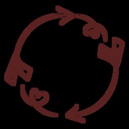 Trazo de ornamento simple dibujado a mano