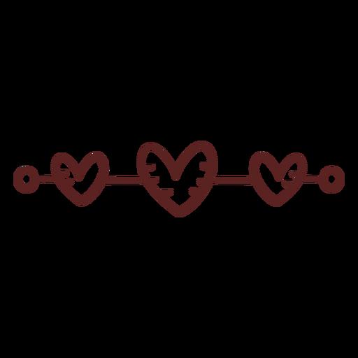 Hearts hand drawn ornament stroke