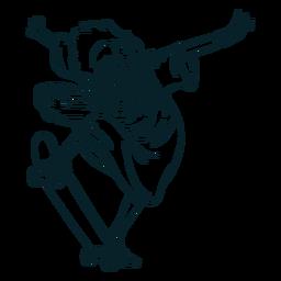 Skating Jesus Hand gezeichnet
