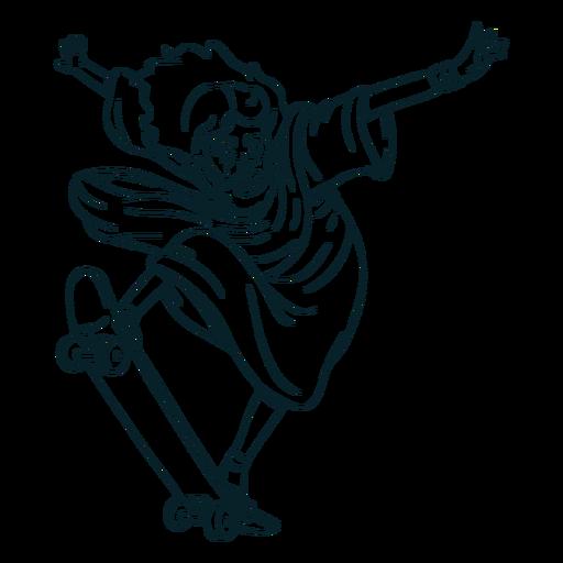 Dibujado a mano jesús patinaje