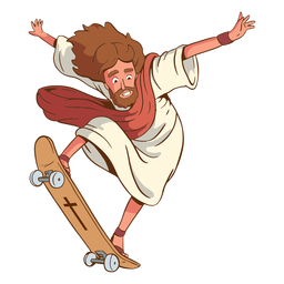 Ilustración de jesús patinando