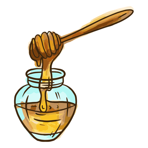 Tarro de miel de acuarela