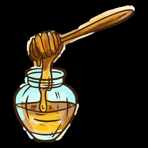 Watercolor honey jar Transparent PNG