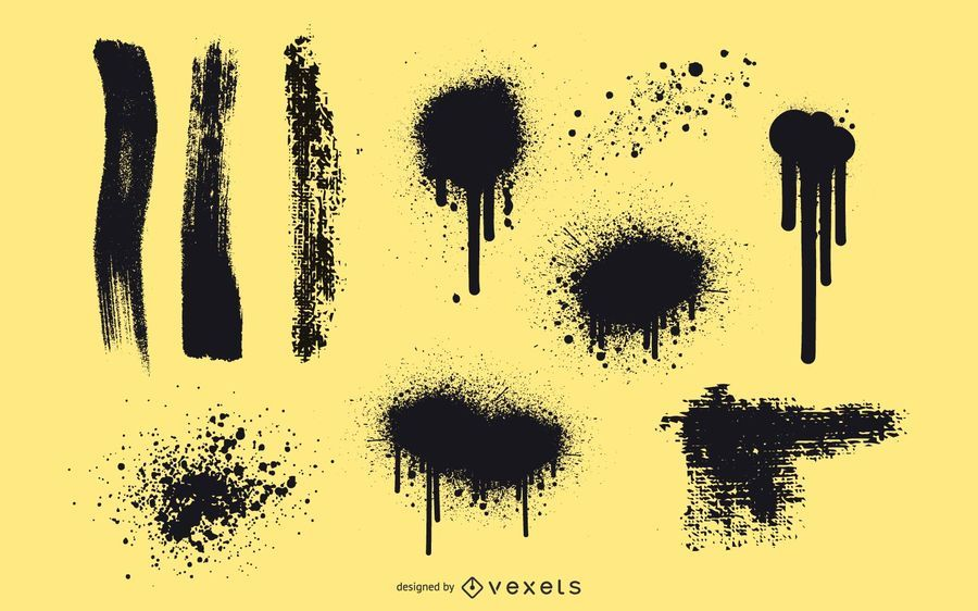 Stroke, ink and spray vector
